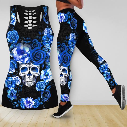 Amazing blue roses with skull all over printed tank top and legging