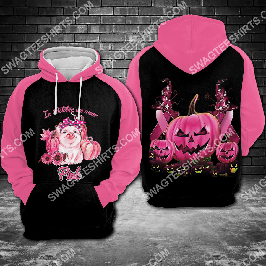 Amazing breast cancer awareness pig and pumpkin in october we wear pink all over printed shirt