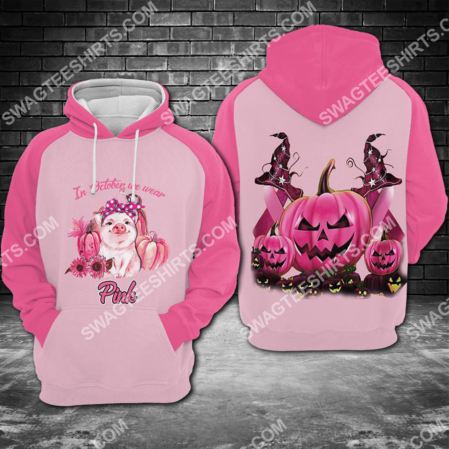 Amazing breast cancer awareness pig in october we wear pink halloween all over printed shirt
