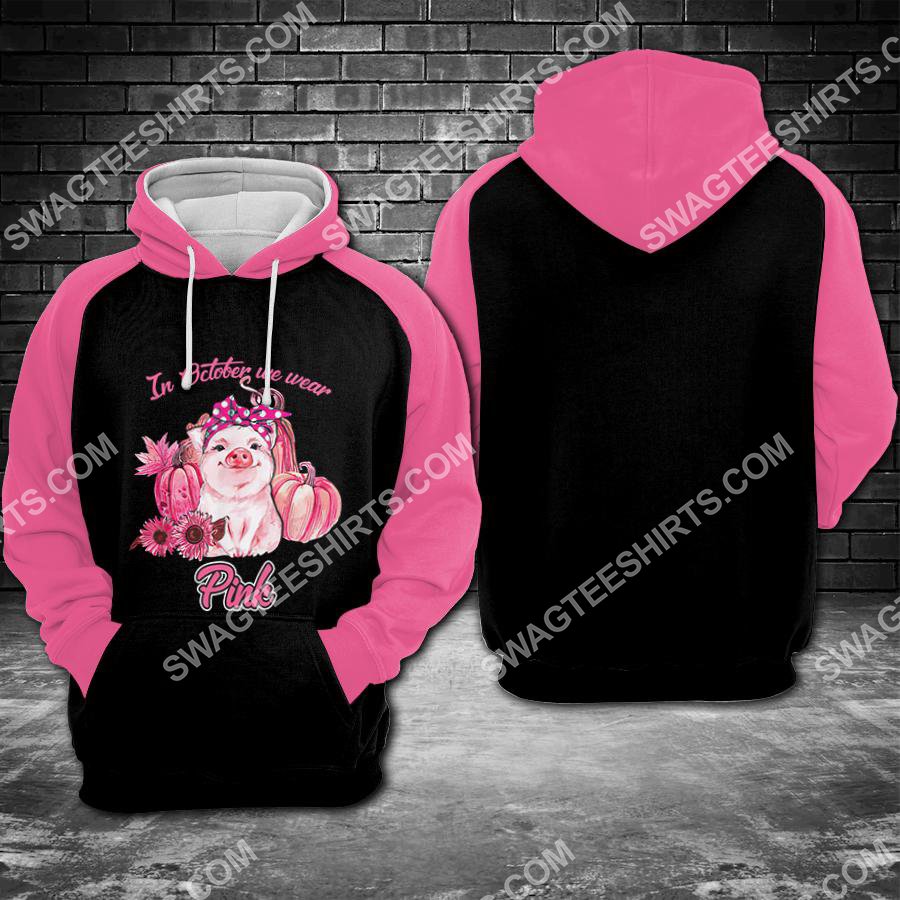 Amazing breast cancer awareness piggy in october we wear pink all over printed shirt