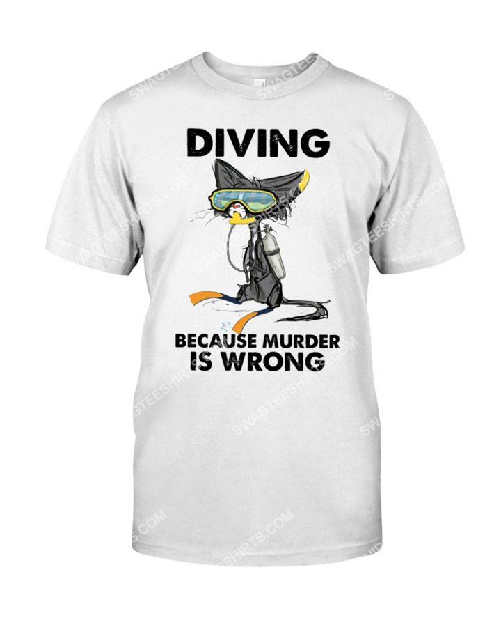 [Amazing mariashirts] cat diving because murder is wrong shirt