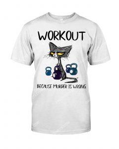 [Amazing mariashirts] cat workout because murder is wrong shirt
