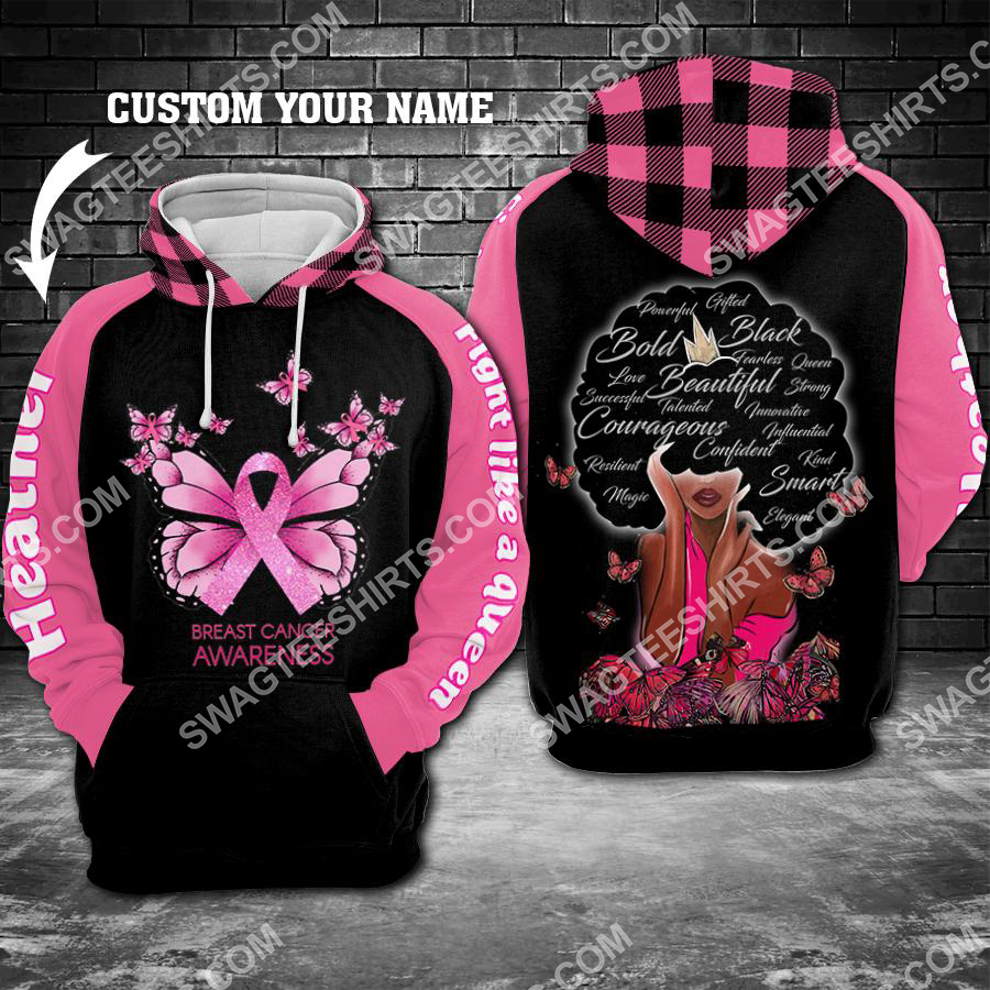 Amazing custom name breast cancer awareness fight like a queen all over printed shirt