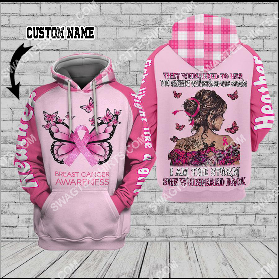 Amazing custom name butterfly fight like a girl breast cancer awareness all over printed shirt