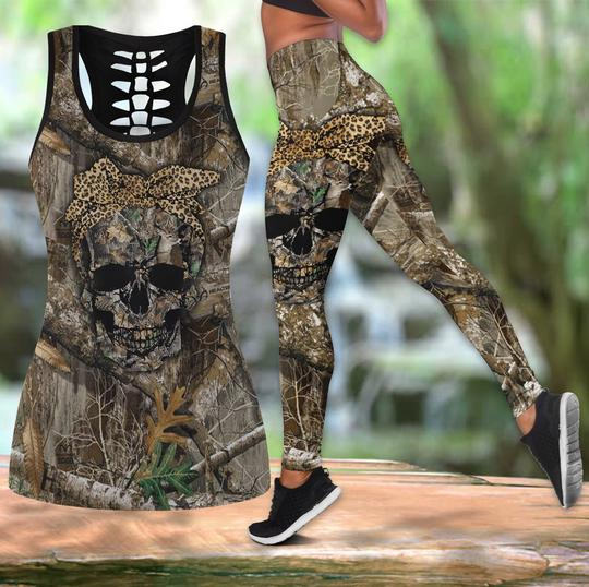 Amazing hunting girl skull all over printed tank top and legging