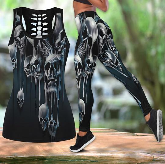 Amazing melting skull all over printed tank top and legging