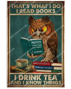 [Amazing mariashirts] owl that's what i do i read books i drink tea and i know things vintage poster