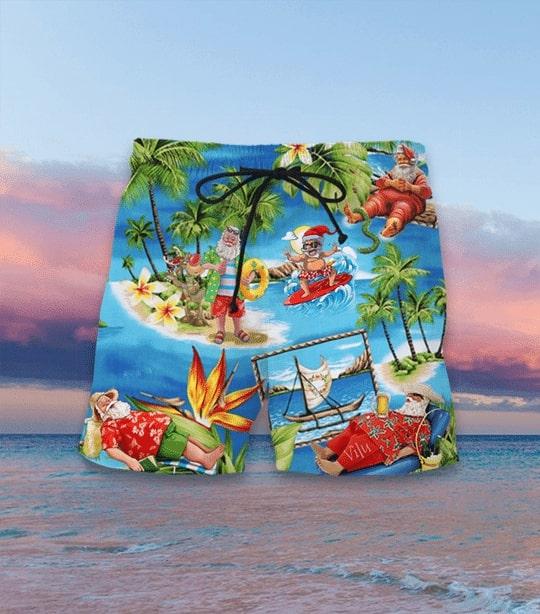 Amazing santa claus surfing all over printed hawaiian shorts