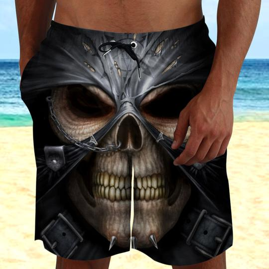 Amazing skull zombie face all over printed beach shorts