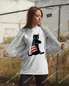 Amazing strong cat patriotic america flag shirt