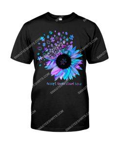 Amazing sunflower accept understand love autism awareness shirt