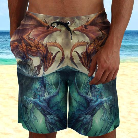 Amazing the dragon fire and ice all over printed beach shorts