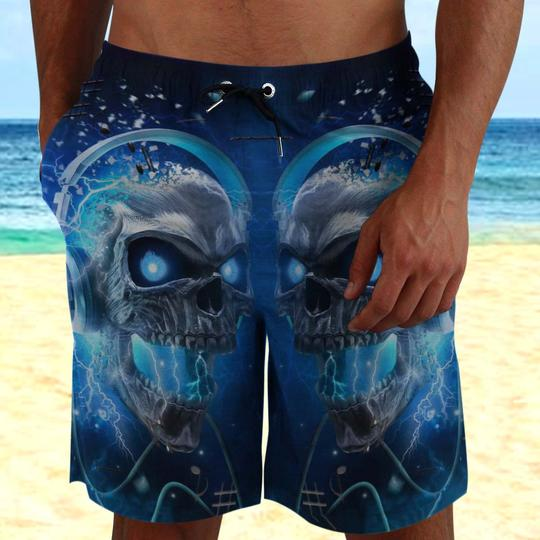 Amazing the skull with blue eyes all over printed beach shorts