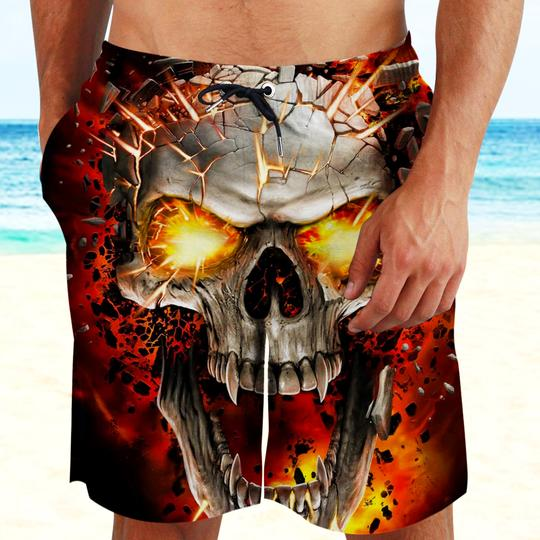Amazing the skull with red eyes all over printed beach shorts