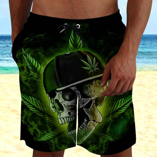 Amazing the skull with weed leaf all over printed beach shorts