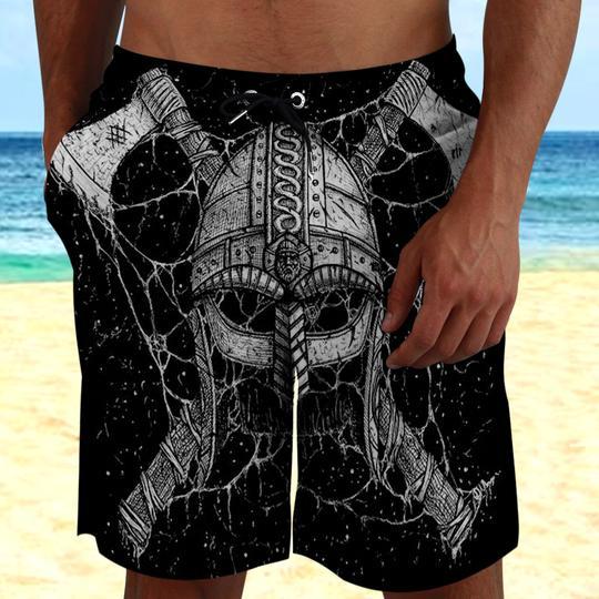 Amazing the viking helmet all over printed beach shorts