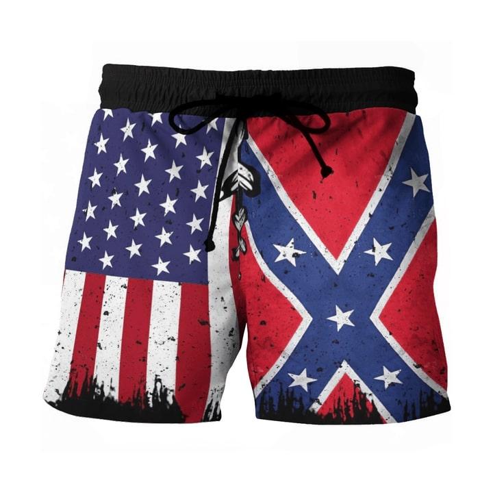 Amazing vintage american flag all over printed hawaiian shorts