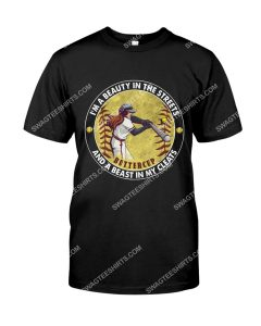 Amazing vintage i'm a beauty in the streets and beast cleats softball shirt