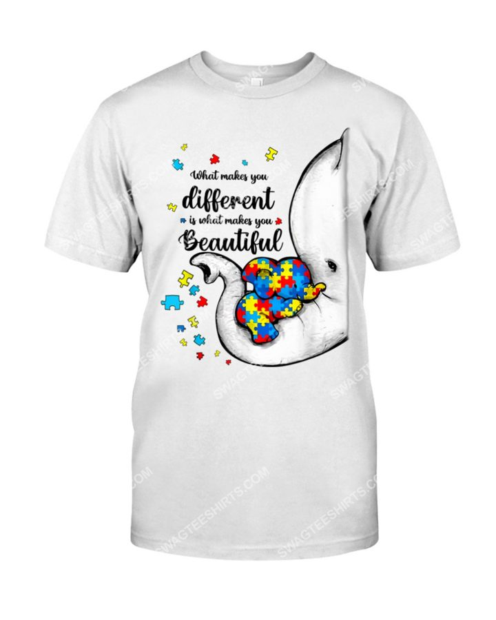 Amazing what makes you different elephant mom autism awareness shirt