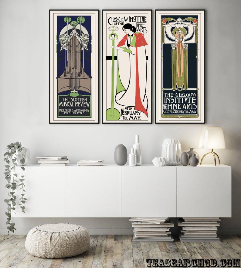 Charles rennie mackintosh set of 3 piece wall art exhibition posters