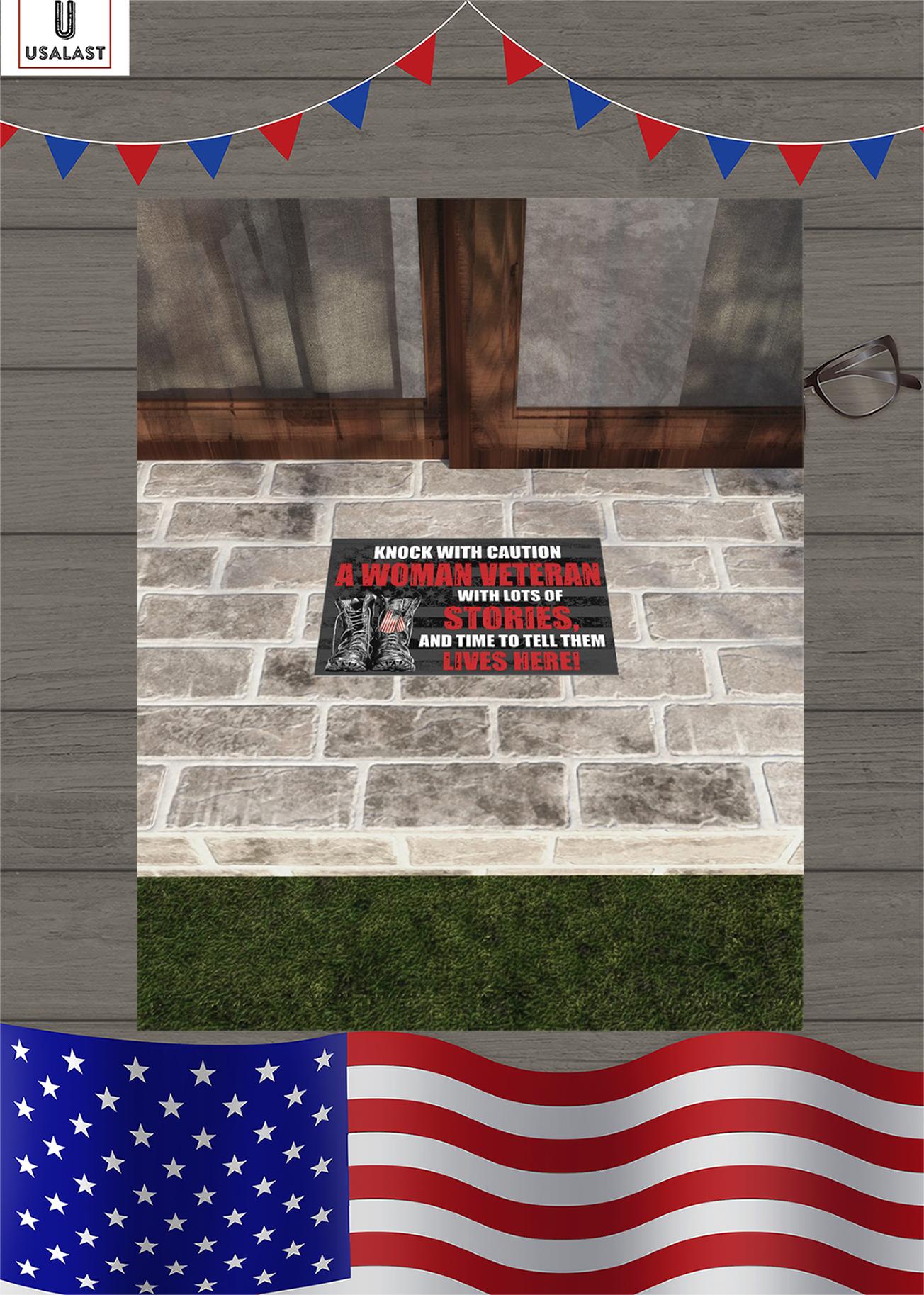 Knock with caution a woman veteran doormat