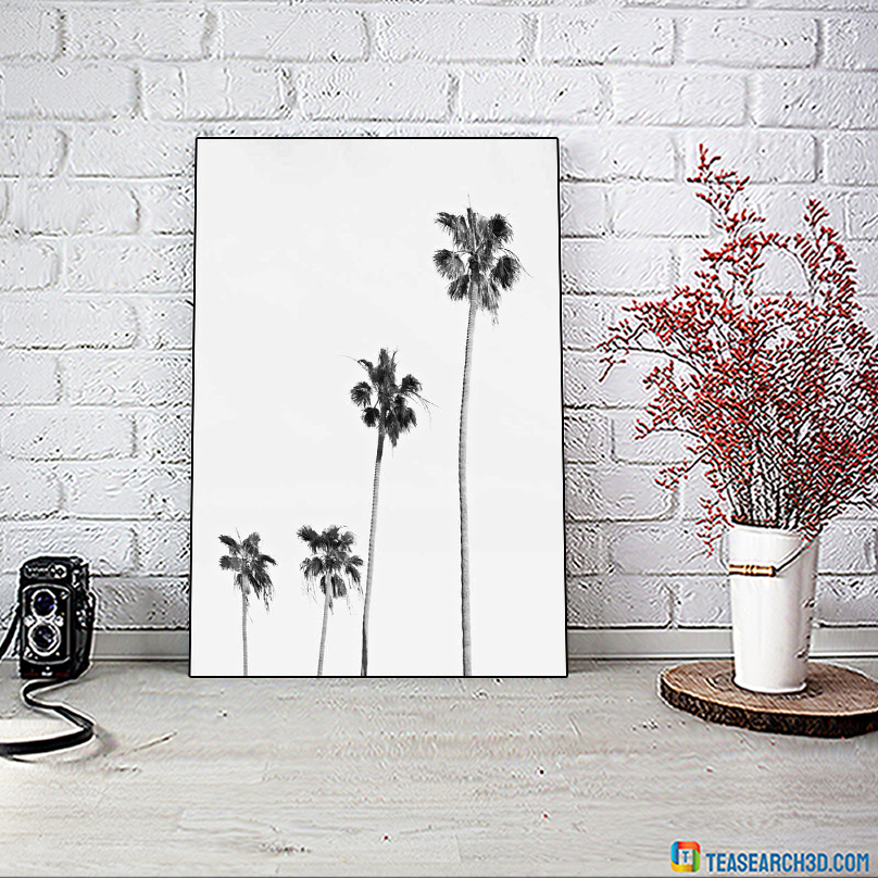 Palm tree black and white poster