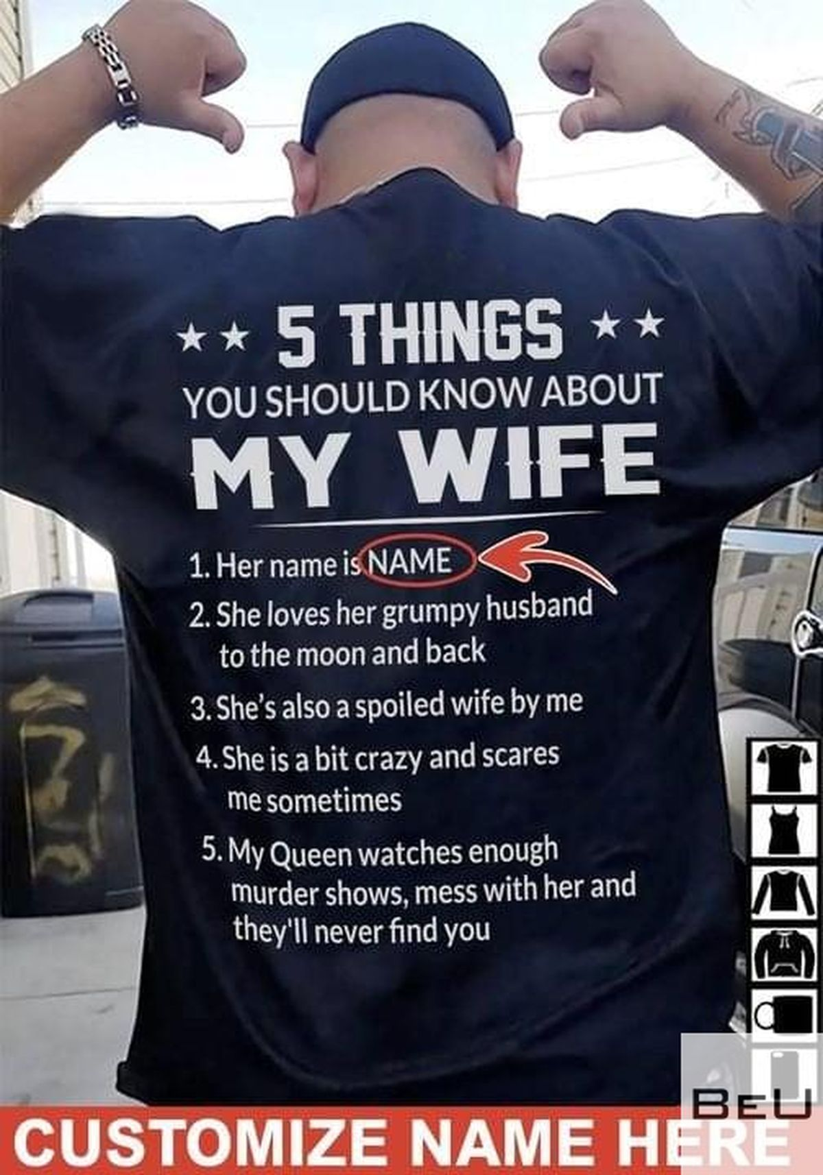 Personalized 5 Things You Should Know About My Wife Her Name Is Shirt, hoodie