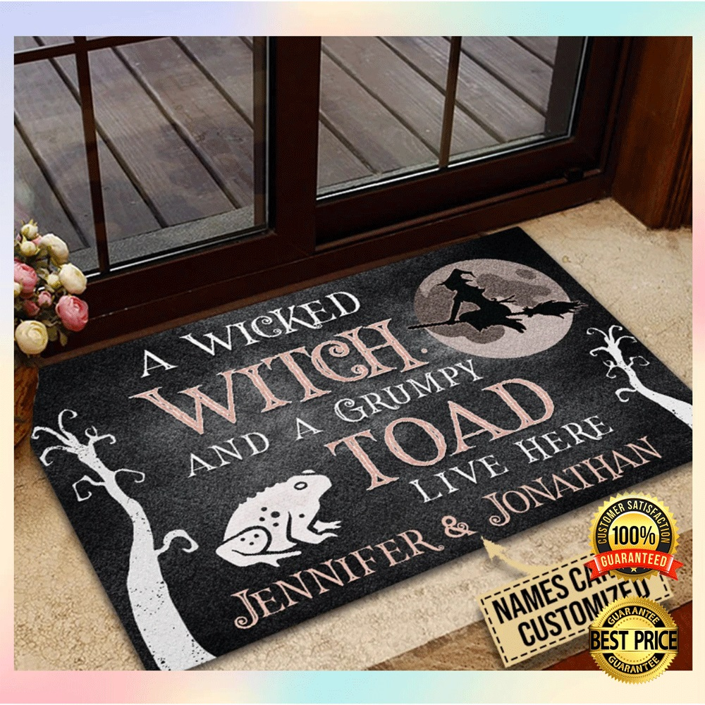 [SALE OFF] PERSONALIZED A WICKED WITCH AND A GRUMPY TOAD LIVE HERE DOORMAT
