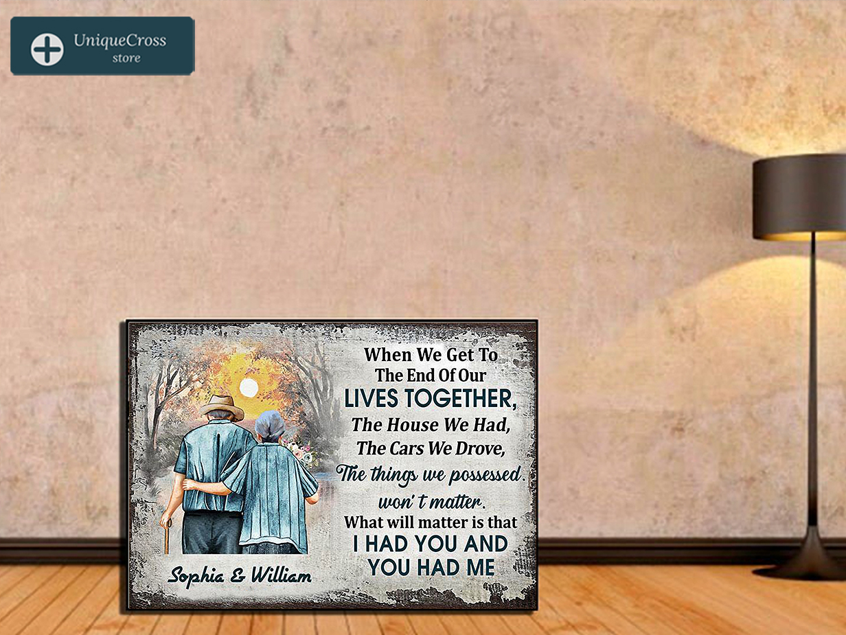 Family old couple when we get in the end personalized custom name poster