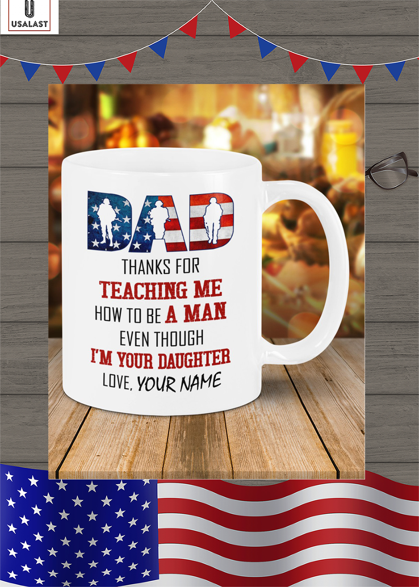 Personalized custom name veteran american flag Dad thanks for teaching me mug
