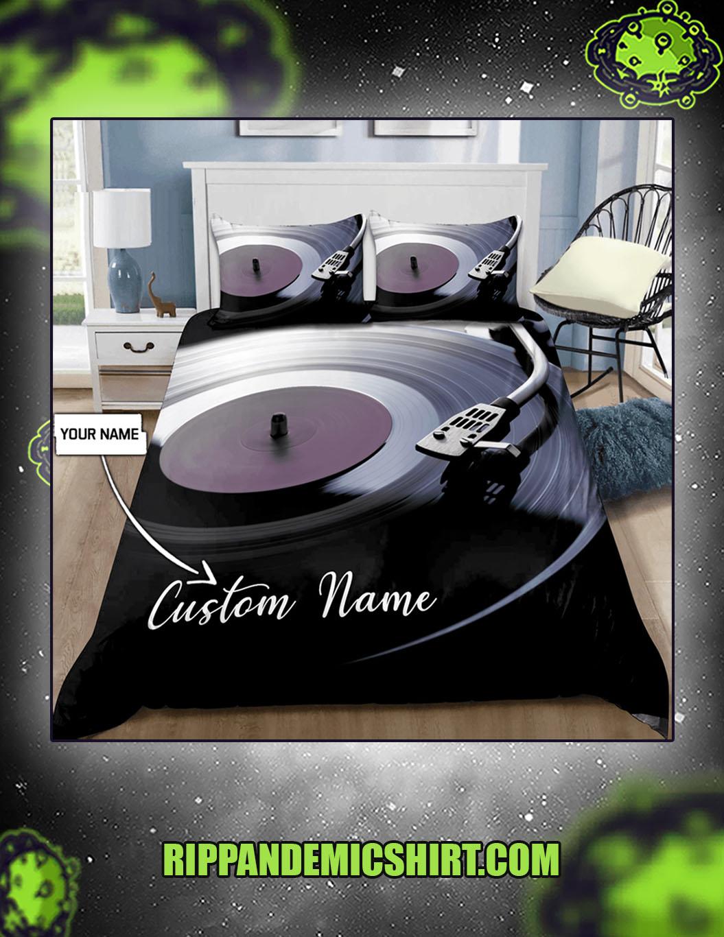 Personalized custom name vinyl record bedding set