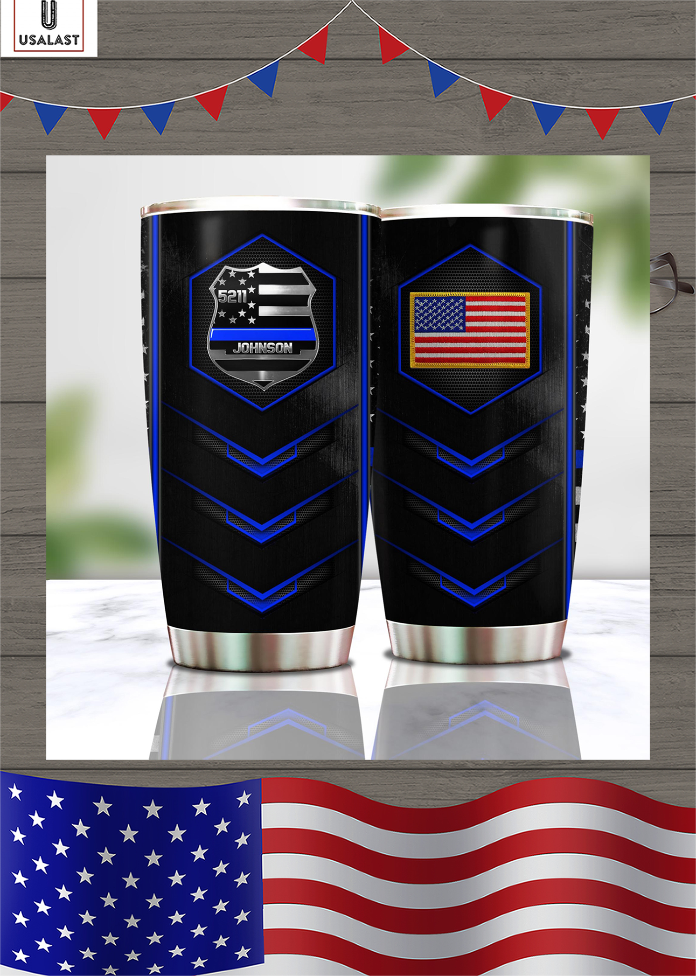 Personalized police badge tumbler