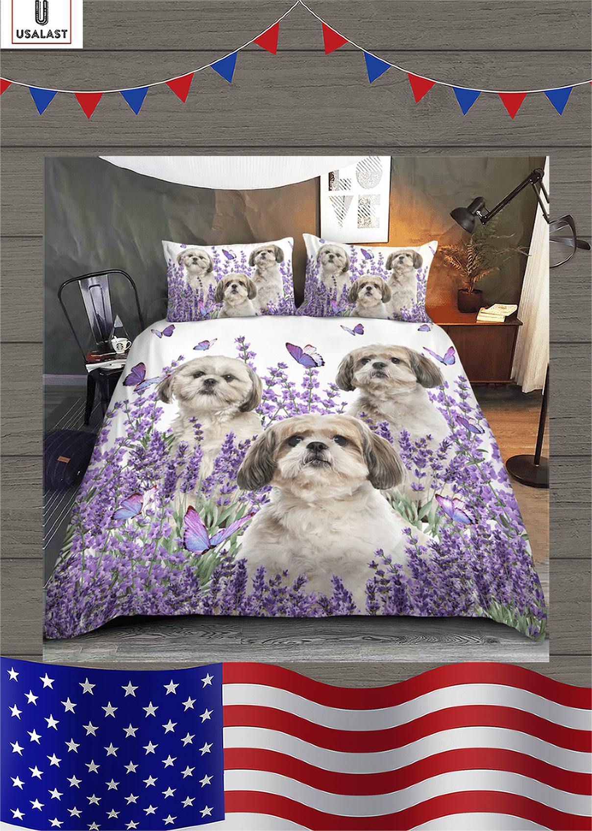 Shih Tzu purple flower bedding set