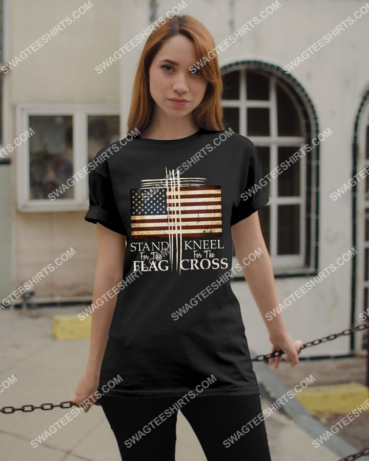 [Amazing mariashirts] american flag stand for the flag kneel for the cross shirt