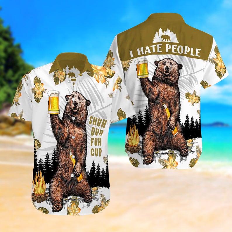 [Amazing swagtshirt] camping bear i hate people all over print hawaiian shirt