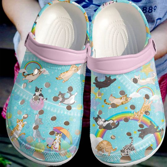 [Amazing owndesignshirt] cats and the rainbows all over printed crocs