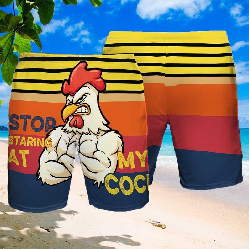 [Amazing swagtshirt] chicken stop staring at my cock summer beach shorts