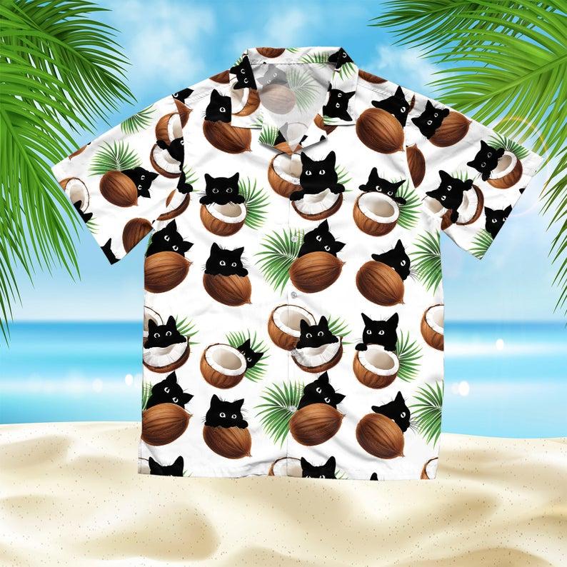 [Amazing swagtshirt] coconut and cat summer vacation all over print hawaiian shirt