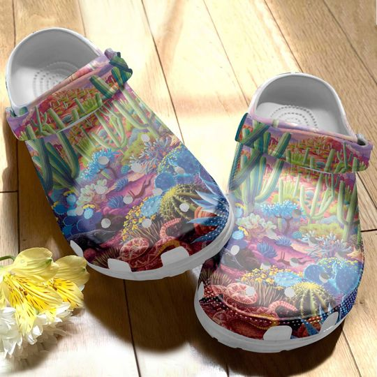 [Amazing owndesignshirt] colorful cactus desert all over printed crocs
