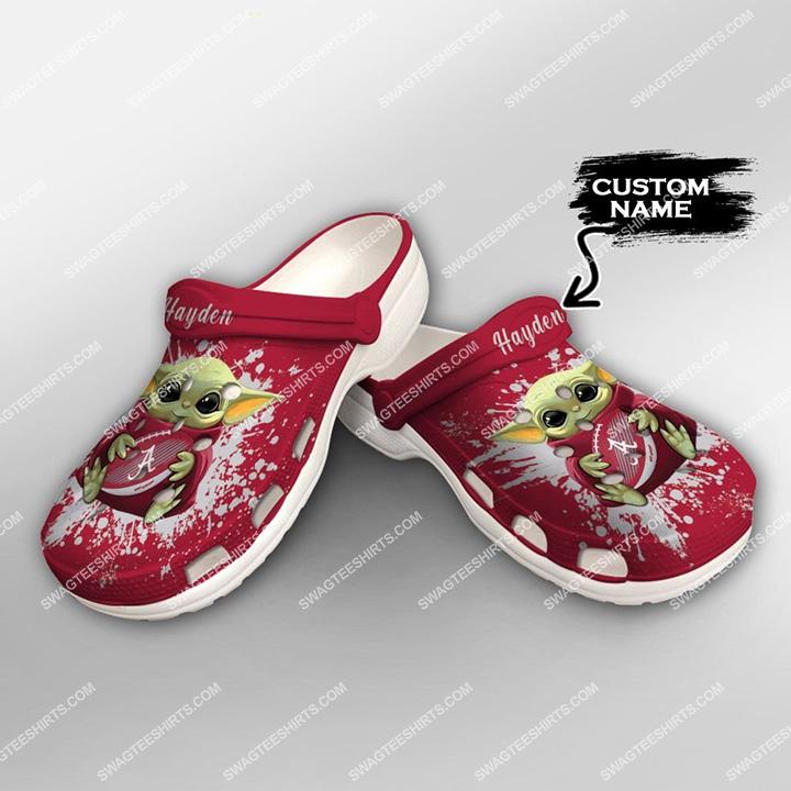 [Amazing swagteeshirt] custom baby yoda hold alabama crimson tide football all over printed crocs