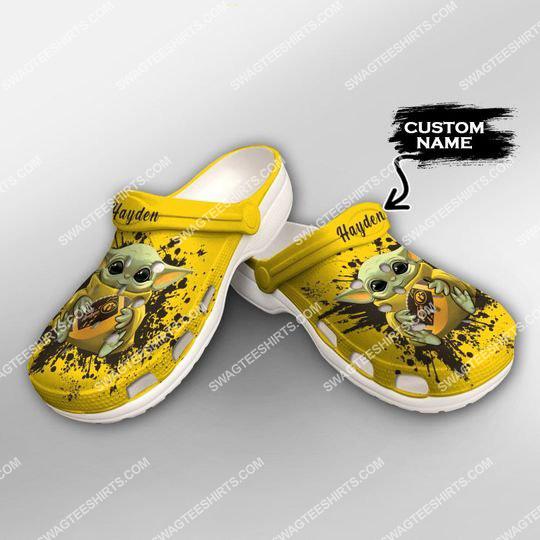 [Amazing swagteeshirt] custom baby yoda hold iowa hawkeyes football all over printed crocs