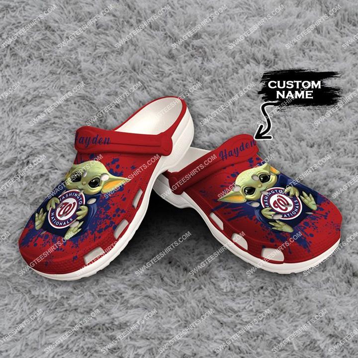 [Amazing swagteeshirt] custom baby yoda hold washington nationals all over printed crocs