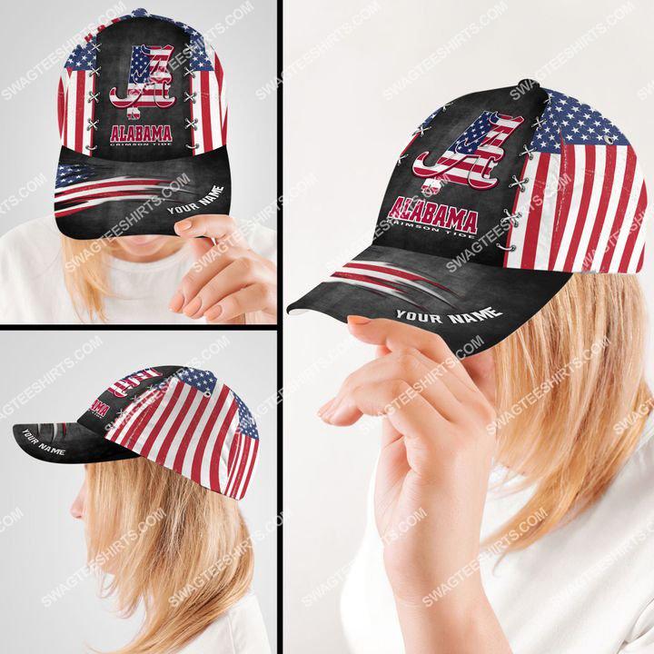 Amazingfullprintingteeshirt] custom name alabama crimson tide and american flag full printing cap