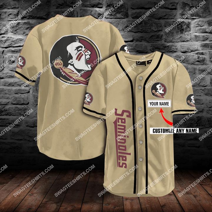 [Amazing fullprintingteeshirt] custom name baseball team florida state seminoles full printing baseball jersey
