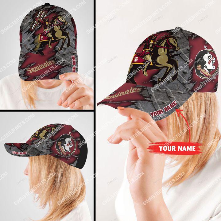 Amazingfullprintingteeshirt] custom name florida state seminoles football full printing cap