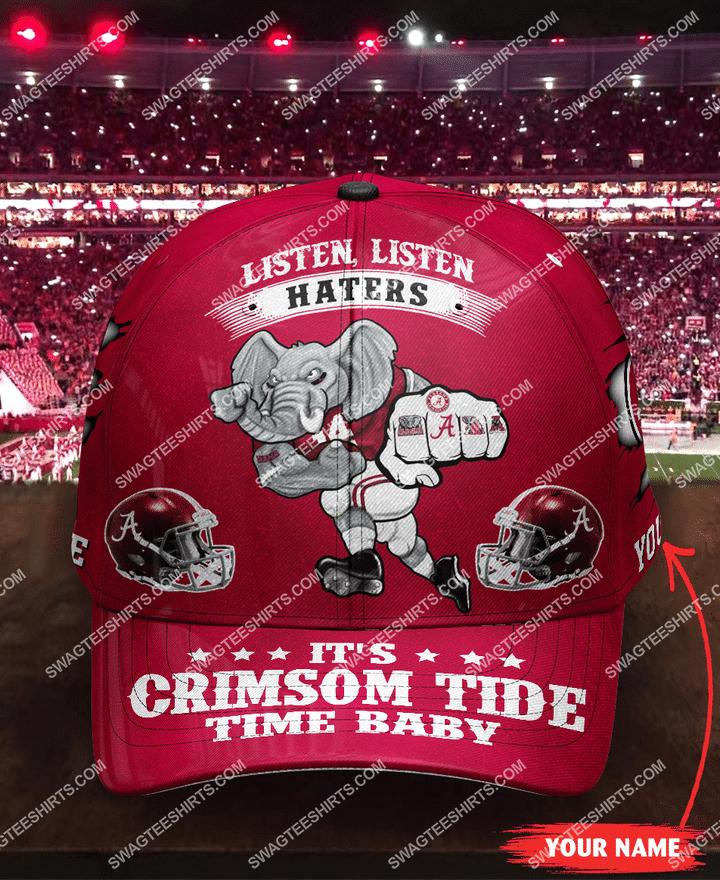 Amazingfullprintingteeshirt] custom name listen haters it's crimson tide time baby full printing cap