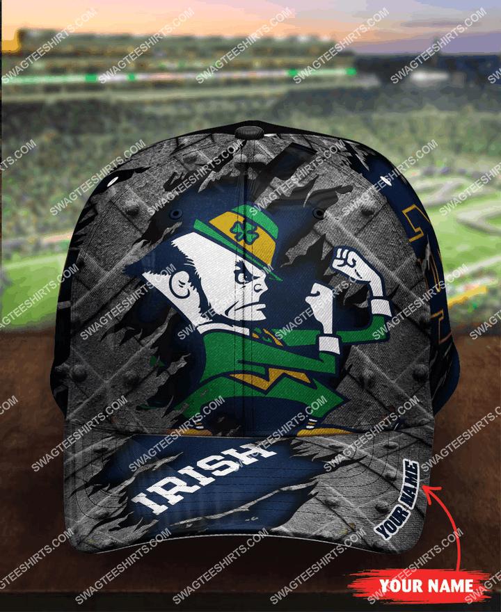 Amazingfullprintingteeshirt] custom name notre dame fighting irish football full printing cap