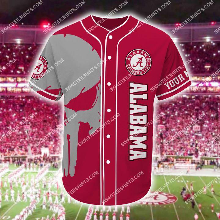[Amazing fullprintingteeshirt] custom name skull football team alabama crimson tide full printing baseball jersey