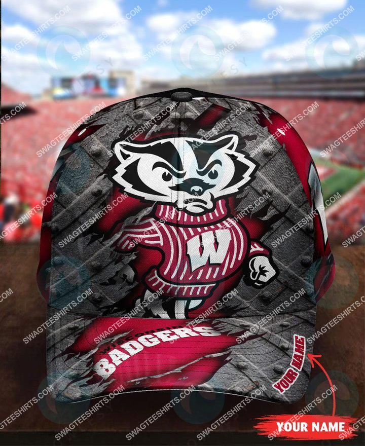 Amazingfullprintingteeshirt] custom name wisconsin badgers football full printing cap