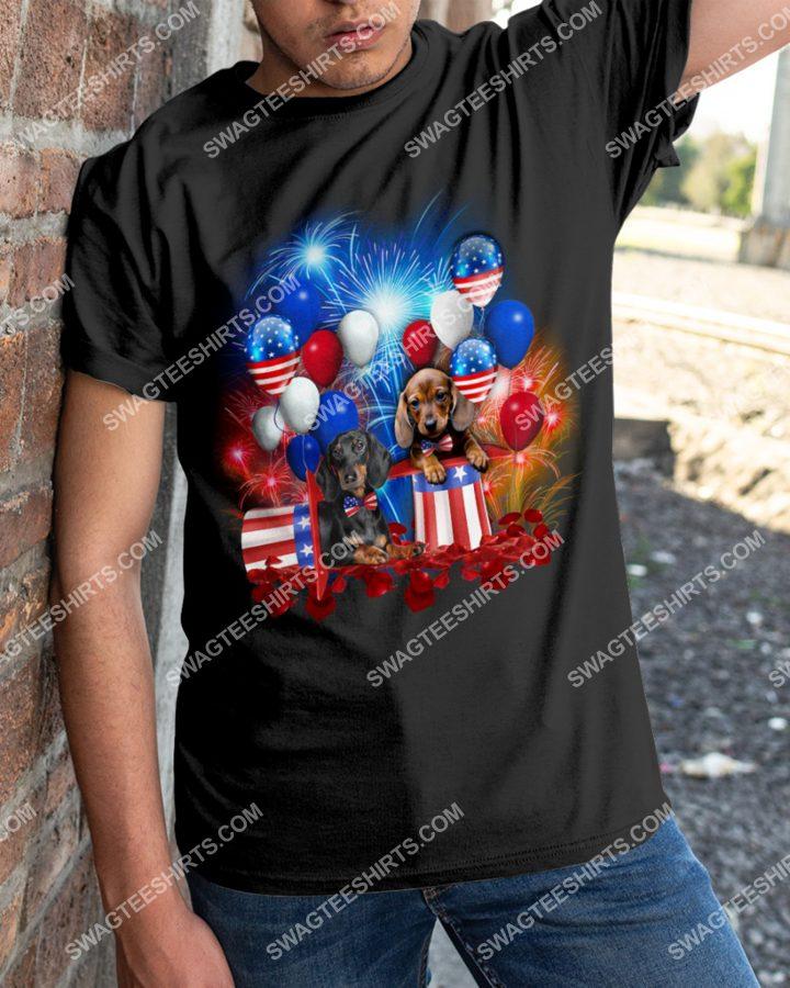 [Amazing mariashirts] dogs lover dachshund happy independence day shirt